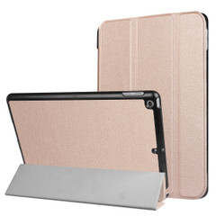 Rose Gold Karst Textured 3-fold Leather iPad 2017 9.7-inch Case | Leather iPad 2017 Cases | iPad 2017 Covers | iCoverLover