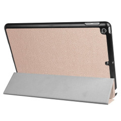 Rose Gold Karst Textured 3-fold Leather iPad 2017 9.7-inch Case | Leather iPad 2017 Cases | iPad 2017 Covers | iCoverLover