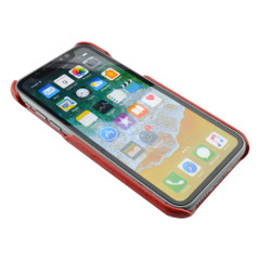 iPhone XS & X Case Red Deluxe PU Leather and Hard Plastic Back Cover with 2 Card Slots, and Slim and Lightweight Build | Leather iPhone XS & X Covers | Leather iPhone XS & X Cases | iCoverLover