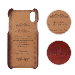 iPhone XS & X Case Brown Deluxe PU Leather and Hard Plastic Back Cover with 2 Card Slots, and Slim and Lightweight Build | Leather iPhone XS & X Covers | Leather iPhone XS & X Cases | iCoverLover