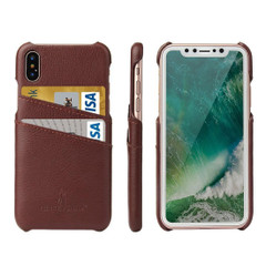iPhone XS & X Case Brown Handmade Genuine Leather Fashion Back Shell with 2 Card Slots, Shockproof, and Scratch-proof | Genuine Leather iPhone XS & X Cases | Genuine Leather iPhone XS & X Covers | iCoverLover