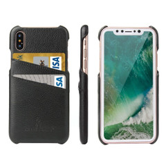 iPhone XS & X Case Black Handmade Genuine Leather Fashion Back Shell with 2 Card Slots, Shockproof, and Scratch-proof | Genuine Leather iPhone XS & X Cases | Genuine Leather iPhone XS & X Covers | iCoverLover