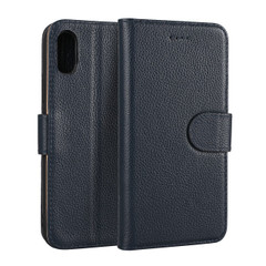 iPhone XS & X Case Blue Fashion Cowhide Genuine Leather Flip Cover with 2 Card Slots, 1 Cash Slot, and Built-in Stand | Genuine Leather iPhone XS & X Covers Cases | Genuine Leather iPhone XS & X Covers | iCoverLover