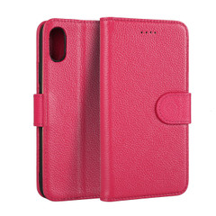 iPhone XS & X Case Pink Fashion Cowhide Genuine Leather Flip Cover with 2 Card Slots, 1 Cash Slot, and Built-in Stand | Genuine Leather iPhone XS & X Covers Cases | Genuine Leather iPhone XS & X Covers | iCoverLover
