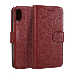 iPhone XS & X Case Wine Red Fashion Cowhide Genuine Leather Flip Cover with 2 Card Slots, 1 Cash Slot, and Built-in Stand | Genuine Leather iPhone XS & X Covers Cases | Genuine Leather iPhone XS & X Covers | iCoverLover