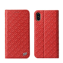 iPhone XS & X Case Red Fierre Shann Copper Coin Leather Wallet Cover with 1 Card Slot, Magnetic Closure, and Stand | Leather iPhone XS & X Cases | Leather iPhone XS & X Covers | iCoverLover