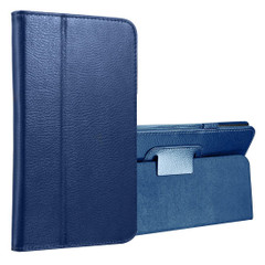 Dark Blue Lychee Leather Samsung Galaxy Tab A 8.0 Case | Leather Samsung Galaxy Tab A 8.0 (2017) Covers | Leather Samsung Galaxy Tab A 8.0 (2017) Cases | iCoverLover