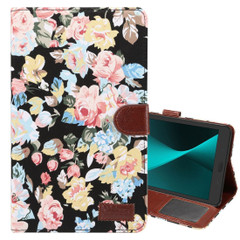 Black Flower Cloth Leather Wallet Samsung Galaxy Tab A 8.0 (2017) Case | Leather Samsung Galaxy Tab A 8.0 (2017) Covers | Leather Samsung Galaxy Tab A 8.0 (2017) Cases | iCoverLover