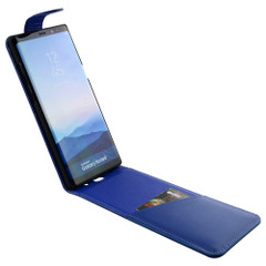 Samsung Galaxy Note 8 Case Blue Vertical Flip Genuine Leather Cover with Magnetic Flap Closure, 1 Cash Compartment, Scratch-resistant, and Drop-proof | Genuine Leather Samsung Galaxy Note 8 Cases | Genuine Leather Samsung Galaxy Note 8 Covers