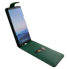 Samsung Galaxy Note 8 Case Green Vertical Flip Genuine Leather Cover with Magnetic Flap Closure, 1 Cash Compartment, Scratch-resistant, and Drop-proof | Genuine Leather Samsung Galaxy Note 8 Cases | Genuine Leather Samsung Galaxy Note 8 Covers
