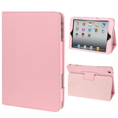 Pink Lychee Texture 2-fold Folio Leather iPad Mini 1, 2, 3 Case | Leather Apple iPad Mini Covers | Leather iPad Mini Cases | iCoverLover