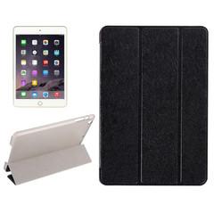 Black Silk Textured 3-fold Leather Folio iPad Mini 4 Case | Leather Apple iPad Mini Covers | Leather iPad Mini Cases | iCoverLover
