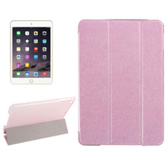 Pink Silk Textured 3-fold Leather Folio iPad Mini 4 Case | Leather Apple iPad Mini Covers | Leather iPad Mini Cases | iCoverLover