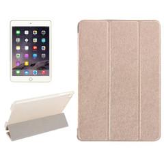Gold Silk Textured 3-fold Leather Folio iPad Mini 4 | iCoverLover
