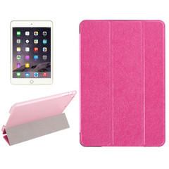 Magenta Silk Textured 3-fold Leather Folio iPad Mini 4 Case | Leather Apple iPad Mini Covers | Leather iPad Mini Cases | iCoverLover