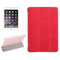 Red Silk Textured 3-fold Leather Folio iPad Mini 4 Case | Leather Apple iPad Mini Covers | Leather iPad Mini Cases | iCoverLover