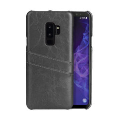 Samsung Galaxy S9 PLUS Case Grey Deluxe PU Leather Back Shell with 2 Exterior Card Slots, Slim Build & Shockproof   Leather Samsung Galaxy S9 Plus Covers   Leather Samsung Galaxy S9 Plus Cases   iCoverLover