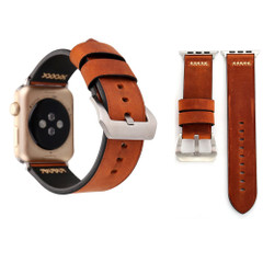 Coffee Retro Genuine Leather Wristwatch Strap 40mm,38mm for Apple Watch Series 1,2,3 and 4 | Genuine Leather Apple Watch Bands | iCoverLover