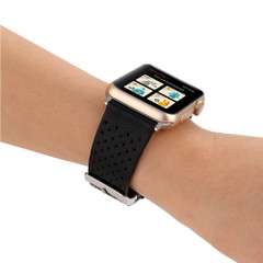 Black Perforated Genuine Leather Wristwatch Strap 40mm,38mm for Apple Watch Series 1,2,3 and 4   Genuine Leather Apple Watch Bands   iCoverLover