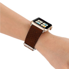 Coffee Perforated Genuine Leather Wristwatch Strap 44mm,42mm for Apple Watch Series 1,2,3 and 4 | Genuine Leather Apple Watch Bands | iCoverLover