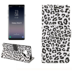 Samsung Galaxy Note 9 Case White Leopard Leather Wallet Cover with Kickstand and Card Slots | Faux Leather Samsung Galaxy Note 9 Cases | iCoverLover
