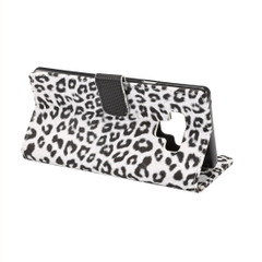 Samsung Galaxy Note 9 Case White Leopard Leather Wallet Cover with Kickstand and Card Slots   Faux Leather Samsung Galaxy Note 9 Cases   iCoverLover