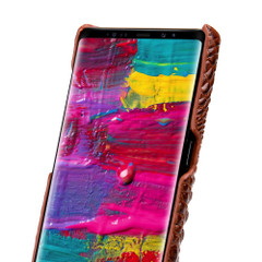 Samsung Galaxy Note 9 Case Brown Genuine 3D Crocodile Leather Back Shell Cover | Samsung Galaxy Note 9 Genuine Leather Covers | Samsung Galaxy Note 9 Leather Cases | iCoverLover