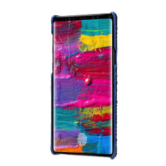 Samsung Galaxy Note 9 Case Blue Genuine 3D Crocodile Leather Back Shell Cover | Samsung Galaxy Note 9 Genuine Leather Covers | Samsung Galaxy Note 9 Leather Cases | iCoverLover