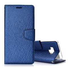 Samsung Galaxy Note 9 Leather Wallet Case Dark Blue Silk Texture Flip Cover with Card Slots and Kickstand | Leather Samsung Galaxy Note 9 Covers | Leather Samsung Galaxy Note 9 Cases | iCoverLover