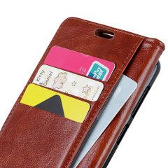 iPhone XS Max Case Brown Copper Buckle Nappa Texture Horizontal Flip Leather Cover with Kickstand and Card Slots | Leather Apple iPhone XS Max Covers | Leather Apple iPhone XS Max Cases | iCoverLover