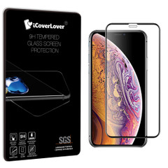 Black iPhone XS MAX Full Edge to Edge 3D Tempered Glass Screen Protector| Protective iPhone XS MAX Screen Protectors | Strong iPhone XS MAX Glass Screen Protector | iCoverLover