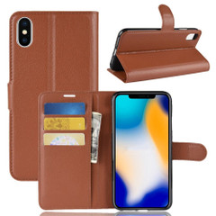 Brown Litchi Flip Leather Wallet iPhone XS MAX Case | Leather Apple iPhone XS MAX Cases | Leather Apple iPhone XS MAX Covers | iCoverLover