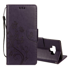 Galaxy Note 9 Case Dark Purple Embossed Butterfly Pattern Horizontal Flip Leather Cover with Card Slots and Lanyard | Leather Samsung Galaxy Note 9 Covers | Leather Samsung Galaxy Note 9 Cases | iCoverLover
