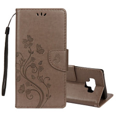 Galaxy Note 9 Case Grey Embossed Butterfly Pattern Horizontal Flip Leather Cover with Card Slots and Lanyard| Leather Samsung Galaxy Note 9 Covers | Leather Samsung Galaxy Note 9 Cases | iCoverLover