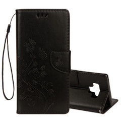 Galaxy Note 9 Case Black Embossed Butterfly Pattern Horizontal Flip Leather Cover with Card Slots and Lanyard | Leather Samsung Galaxy Note 9 Covers | Leather Samsung Galaxy Note 9 Cases | iCoverLover