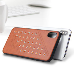 iPhone XS MAX Case Brown Modish Leather Back Shell Cover | Leather iPhone XS MAX Covers | Leather iPhone XS MAX Cases | iCoverLover