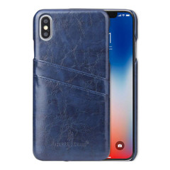 iPhone XS MAX Case Blue Deluxe PU Leather Back Shell with 2 Card Slots, Ultra Slim Build & Impact-Resistant | Leather iPhone XS MAX Covers | Leather iPhone XS MAX Cases | iCoverLover
