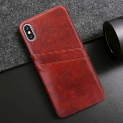 iPhone XS MAX Case Brown Deluxe PU Leather Back Shell with 2 Card Slots, Ultra Slim Build & Impact-Resistant | Leather iPhone XS MAX Covers | Leather iPhone XS MAX Cases | iCoverLover