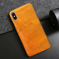 iPhone XS MAX Case Yellow Deluxe PU Leather Back Shell with 2 Card Slots, Ultra Slim Build & Impact-Resistant | Leather iPhone XS MAX Covers | Leather iPhone XS MAX Cases | iCoverLover