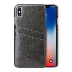 iPhone XS MAX Case Grey Deluxe PU Leather Back Shell with 2 Card Slots, Ultra Slim Build & Impact-Resistant   Leather iPhone XS MAX Covers   Leather iPhone XS MAX Cases   iCoverLover