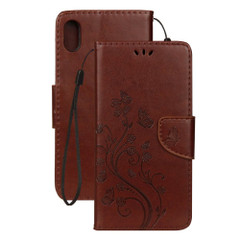iPhone XR Case Brown Embossed Butterfly Pattern Horizontal Flip Leather Case with Holder, Lanyard & Wallet | Leather Apple iPhone XR Covers | Leather Apple iPhone XR Cases | iCoverLover
