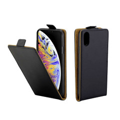 iPhone XS Max Case Black Business-Style Vertical Flip TPU Leather Wallet Cover with Card Slot   Leather Apple iPhone XS Max Covers   Leather Apple iPhone XS Max Cases   iCoverLover