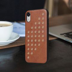 iPhone XR Case Brown Modish Leather Back Shell Cover | Leather iPhone XR Covers | Leather iPhone XR Cases | iCoverLover