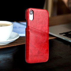 iPhone XR Case Red Deluxe PU Leather Back Cover with 2 Exterior Card Slots, Slim Build, Anti-Scratch & Shockproof | Leather iPhone XR Covers | Leather iPhone XR Cases | iCoverLover