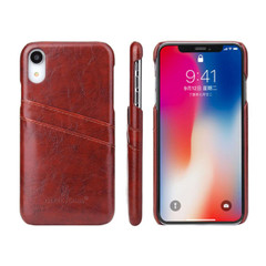 iPhone XR Case Brown Deluxe PU Leather Back Cover with 2 Exterior Card Slots, Slim Build, Anti-Scratch & Shockproof | Leather iPhone XR Covers | Leather iPhone XR Cases | iCoverLover