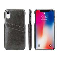 iPhone XR Case Grey Deluxe PU Leather Back Cover with 2 Exterior Card Slots, Slim Build, Anti-Scratch & Shockproof | Leather iPhone XR Covers | Leather iPhone XR Cases | iCoverLover