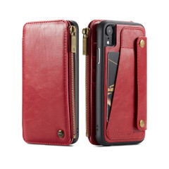 iPhone XR Case Red Detachable Multifunctional Folio Leather Cover with Card Slots and Zippered Wallet | Leather Apple iPhone XR Covers | Leather Apple iPhone XR Cases | iCoverLover