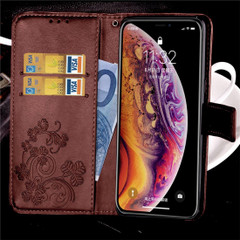 iPhone XR Case Brown Embossed PU Leather & TPU Wallet-style Cover with 2 Card Slots, Built-in Kickstand, and Magnetic Flap Closure | Leather Apple iPhone XR Covers | Leather Apple iPhone XR Cases | iCoverLover