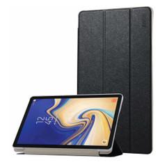 Samsung Galaxy Tab S4 Case 10.5 Black Silk Texture PU Leather Folio Case with Three-folding Holders and Sleep/Wake Function | Leather Samsung Galaxy Tab S4 Covers | Leather Samsung Galaxy Tab S4 Cases | iCoverLover