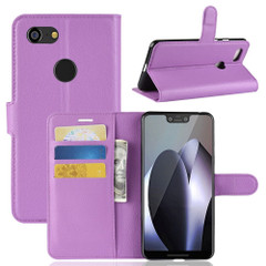 Google Pixel 3 XL Leather Wallet Case Purple Lychee Leather Cover with Kickstand and Card Slots | Leather Google Pixel 3 XL Covers | Leather Google Pixel 3 XL Cases | iCoverLover